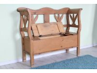 DELIVERY OPTIONS - LOVELY OLD PINE BENCH SEAT WAXED & RUSTIC LOTS OF CHARACTER
