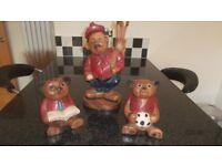 3 Wooden Character Figures