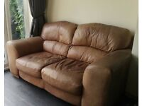 Leather two seat sofa / settee