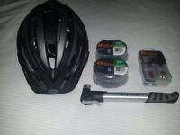 Cycling helmet, pump, puncture repair kit & innertubes