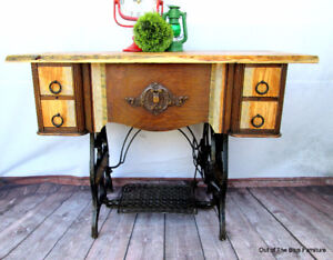 Up-cycled sewing entry table w/barn wood top