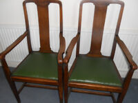 Pair of Solid Oak Victorian or Edwardian Chairs, Armchairs, Carvers