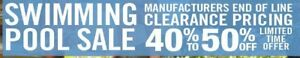 Manufacturers End-of-Line Swimming Pool Clearance Pricing