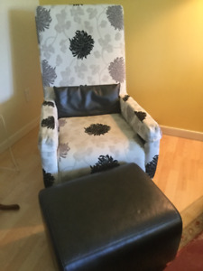 RIGA Italian Swivel Rocking Chair w/leather ottoman
