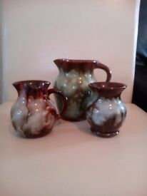 Brown drip glaze pottery set