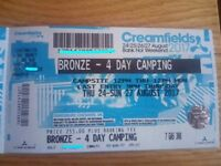 Creamfields 4 day bronze camping (postage special/next day delivery)