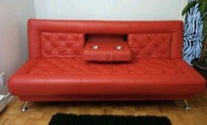 Sofa lit cuir véritable