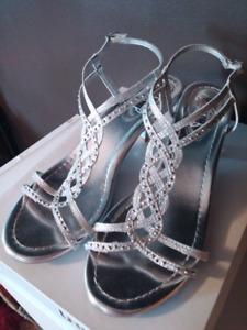 Silver sparkly women's shoes