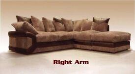 ▶️IN JUST 349◀️Brand New Dino Jumbo Cord Corner/3+2 Seater Sofa in Black&Silver/brown&beige Color