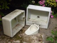 2-off BUTLER SINKS + PORCELAIN BED PAN SUITABLE for use as GARDEN PLANTERS