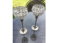 Candlesticks in silver with crystal effect tops PAIR