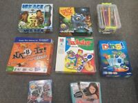 Bundle of board games twister, ding, space, checkers, scrabble, ice age and more
