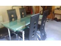 madrid glass dining table and 4 chairs