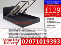 **70 % OFF** BRAND NEW KING SIZE SINGLE DOUBLE LEATHER STORAGE Bed Availabie With Mattress** Ryan