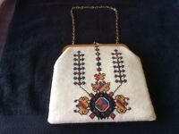 Vintage handbag with cross stitch detail