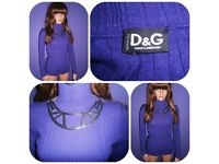 ***ORIGINAL D&G DOLCE AND GABBANA 80s 70s PURPLE HIGH NECK JUMPER SKINNY FIT UK 6-10