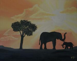 """Toile peinte à la main """"Paysage d'Afrique et éléphants"""""""
