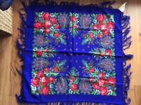 Genuine Russian scarf / shawl, 100% wool - electric blue with red roses