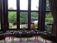 Set of six solid medium oak high back classic dining chairs