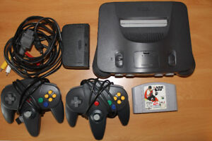 N64 with two controllers and game