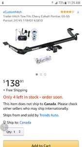 Looking for used trailer hitch for Pontiac G5 car