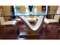 Stunning Glass Dining Table with Marble Block and 8 Cream Leather Chairs