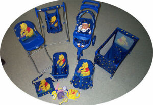 NEW Doll Playset: Stroller, Swing, High Chair, Playpen,Car Seat