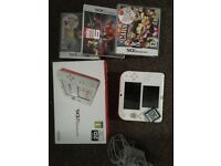 Nintendo 2DS with box, games and charger