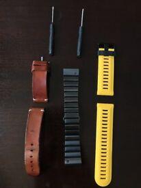 Original Garmin Fenix 3/ 3HR/ 5X band strap- Metal, leather and silicone- Mint