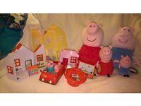 Peppa Pig job lot large & small soft pigs Peppa,s House radio controlled car
