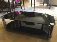 Corner black glass tv stand