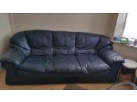 3 Seater sofa in blue leather