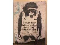 Banksy Canvas 'laugh now' monkey