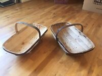Vintage Wooden Trugs/Baskets x 3
