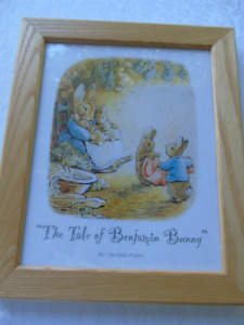 FRAMED PICTURE ,THE TALE OF BENJAMIN BUNNY, BY BEATRIX POTTER