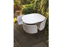 Compact Dining Table & 4 Chairs - White BARELY USED