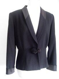 KASPER 100% Wool Black Vintage 80's look Shoulder Pads Evening Jacket Blazer NEW