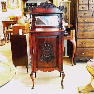Antique Record Storage Cabinet w/ key