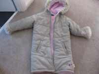 BEAUTIFUL THICK WINTER COAT - IMMACULATE fully lined from Sainsburys age 8-9 with hood / fake fur