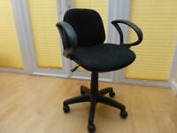 Black swival office chair, padded back and seat, armrests, adjustable seat height