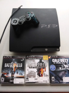 PS3 Slim with Controller and 3 Games