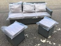 NEW Grey 'Dreams' Rattan Sofa/Lounger with 2 stools