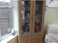 Oak illuminated display cabinet
