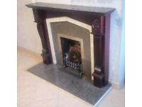 Fireplace-Wooden Surround(Mahogany colour)+Granite Insert+Cast Iron Bits
