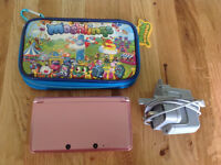 Nintendo 3DS console - coral PINK + case & charger