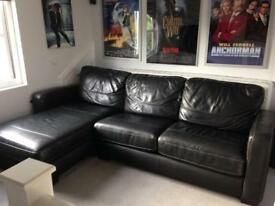 Corner Black Leather sofa-bed