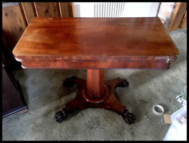 Antique Folding Card Table with Claw Feet