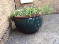 Teal/ jade green outdoor ceramic plant pot