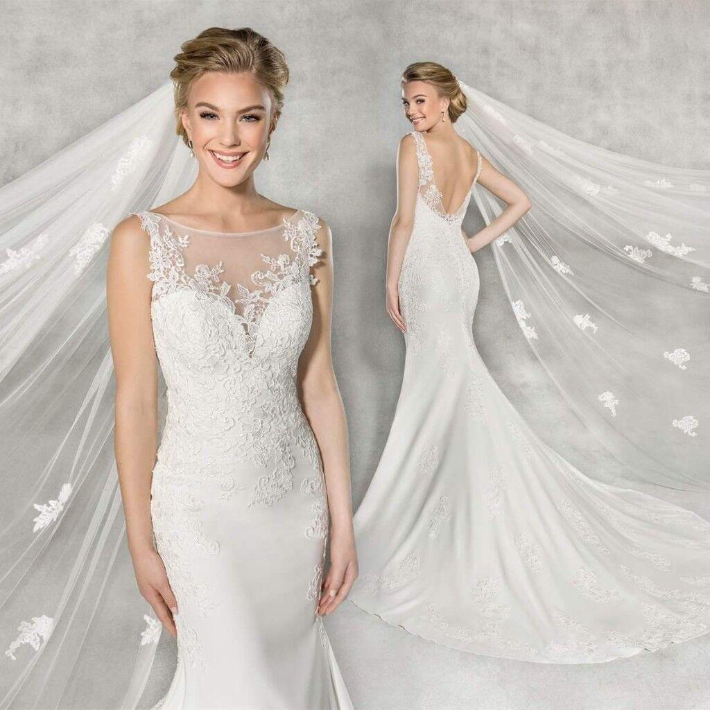 Stunning Cream Mermaid Wedding Dress Size 12 Open Back