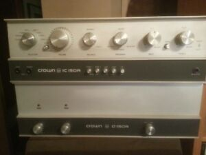 CROWN D-150A POWER AMPLIFIER AND CROWN IC-150A PREAMPLIFIER